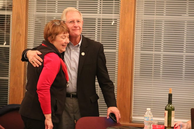 Incumbent Republican state Rep. Steve Arndt celebrates with Ottawa County GOP Chairman Jill Stinebaugh on Election Night, Tuesday.
