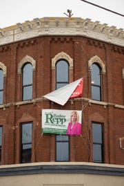 A sign supporting Port Huron Mayor Pauline Repp hangs on a building in downtown Port Huron the day after mid-term elections Wednesday, Nov. 7, 2018. Mayor Repp was re-elected in Tuesday's elections.