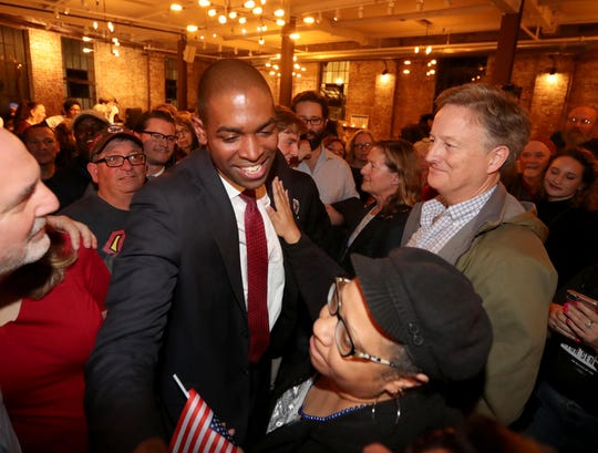 Antonio Delgado celebrates with supporters at the Senate Garage in Kingston, N.Y. Nov. 6, 2018 after defeating incumbent John Faso in New York's 19th Congressional District race Nov. 6, 2018.