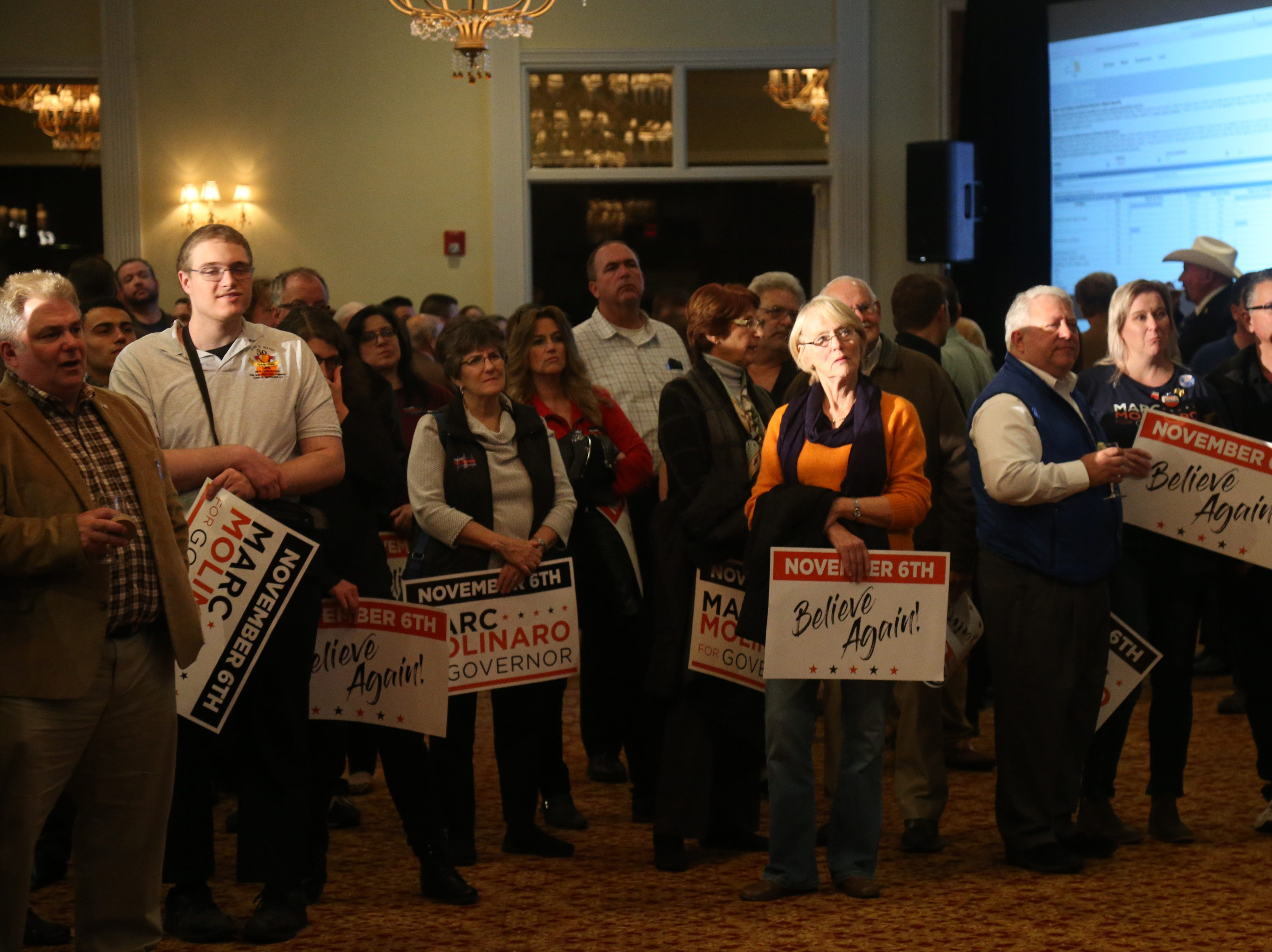 Supporters of Marc Molinaro await the results of Tuesday's election in the City of Poughkeepsie on November 6, 2018.]