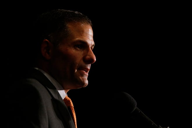 Republican gubernatorial candidate Marc Molinaro delivers his concession speech following the results of Tuesday's election in the City of Poughkeepsie on November 6, 2018.