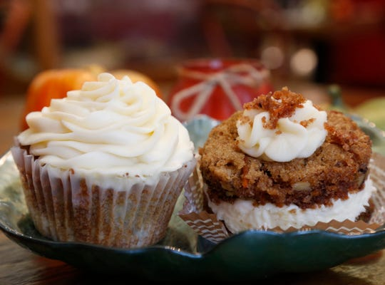 From left, a hummingbird cupcake and miniature carrot cake at Calico's Gourmet Food and Dessertery in Rhinebeck on November 2, 2018.