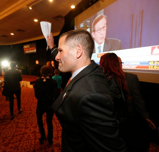 Marc Molinaro joins his supporters to give his concession speech following the results of Tuesday's election in the City of Poughkeepsie on November 6, 2018.