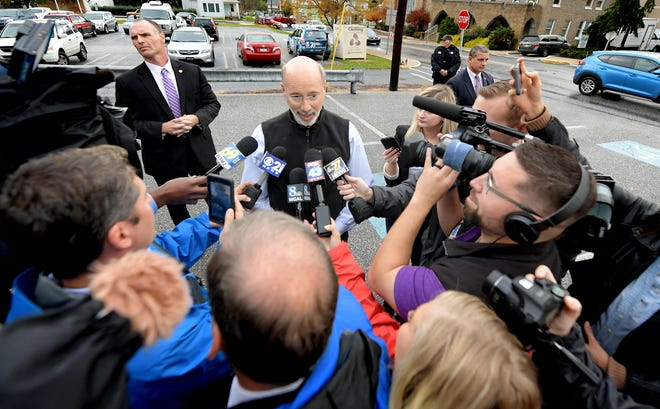 Gov. Tom Wolf talks with the media after voting at Eagle Fire Company in Mount Wolf on midterm Election Day Tuesday, Nov. 6, 2018. Bill Kalina photo