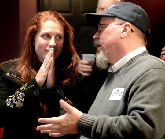 State House candidate Sarah Hammond talks with Bob Kefauver, former chairman of the Democratic Party of York County, at a Democratic Watch Party at Rockfish Public House in York City Tuesday, Nov. 6, 2018. Bill Kalina photo