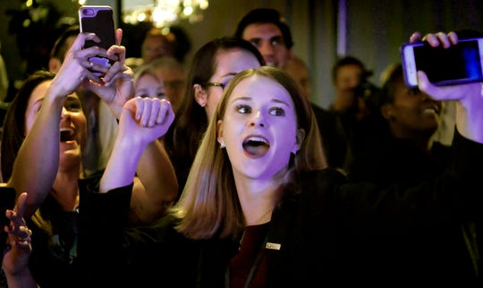 The Wolf campaign Deputy Communications Director Karissa Hand cheers returns during the Election Night Party at the Bond in York City Tuesday, Nov. 6, 2018. Tom Wolf defeated challenger Scott Wagner to win a second term. Bill Kalina photo