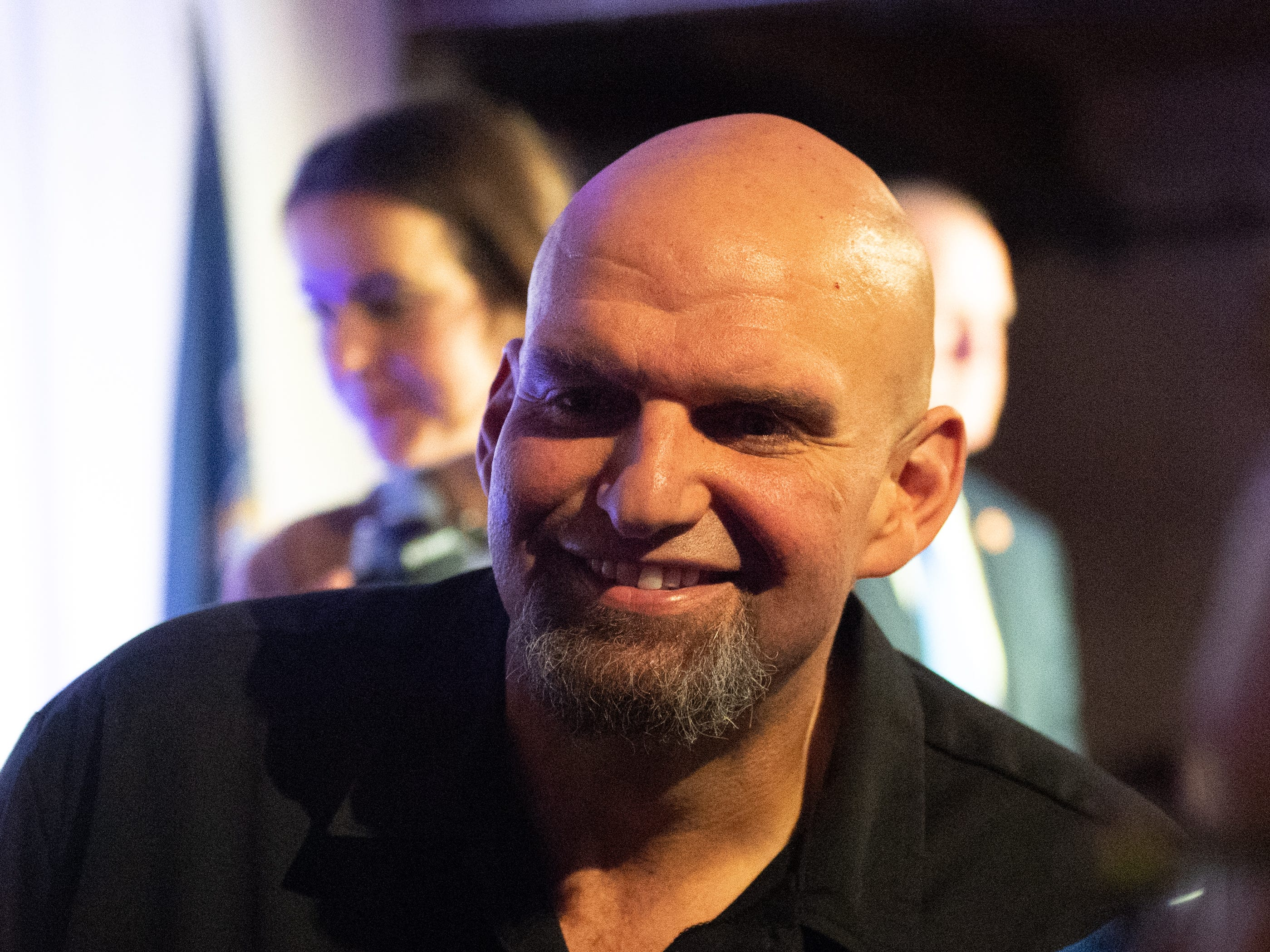 Lieutenant Governor-Elect John Fetterman is all smiles after delivering his victory speech at the Election Night Party, Tuesday, November 6, 2018. Tom Wolf was re-elected as Governor of Pennsylvania after defeating Scott Wagner.