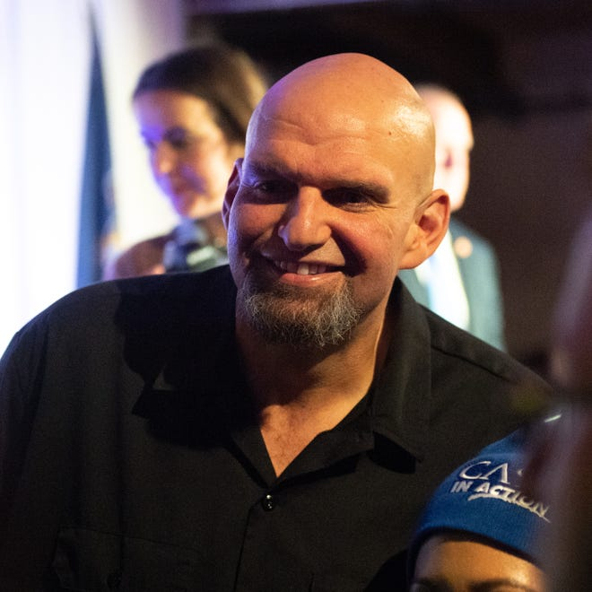 Lt. Gov.-elect John Fetterman is all smiles after delivering his victory speech at an election night party on Nov. 6.
