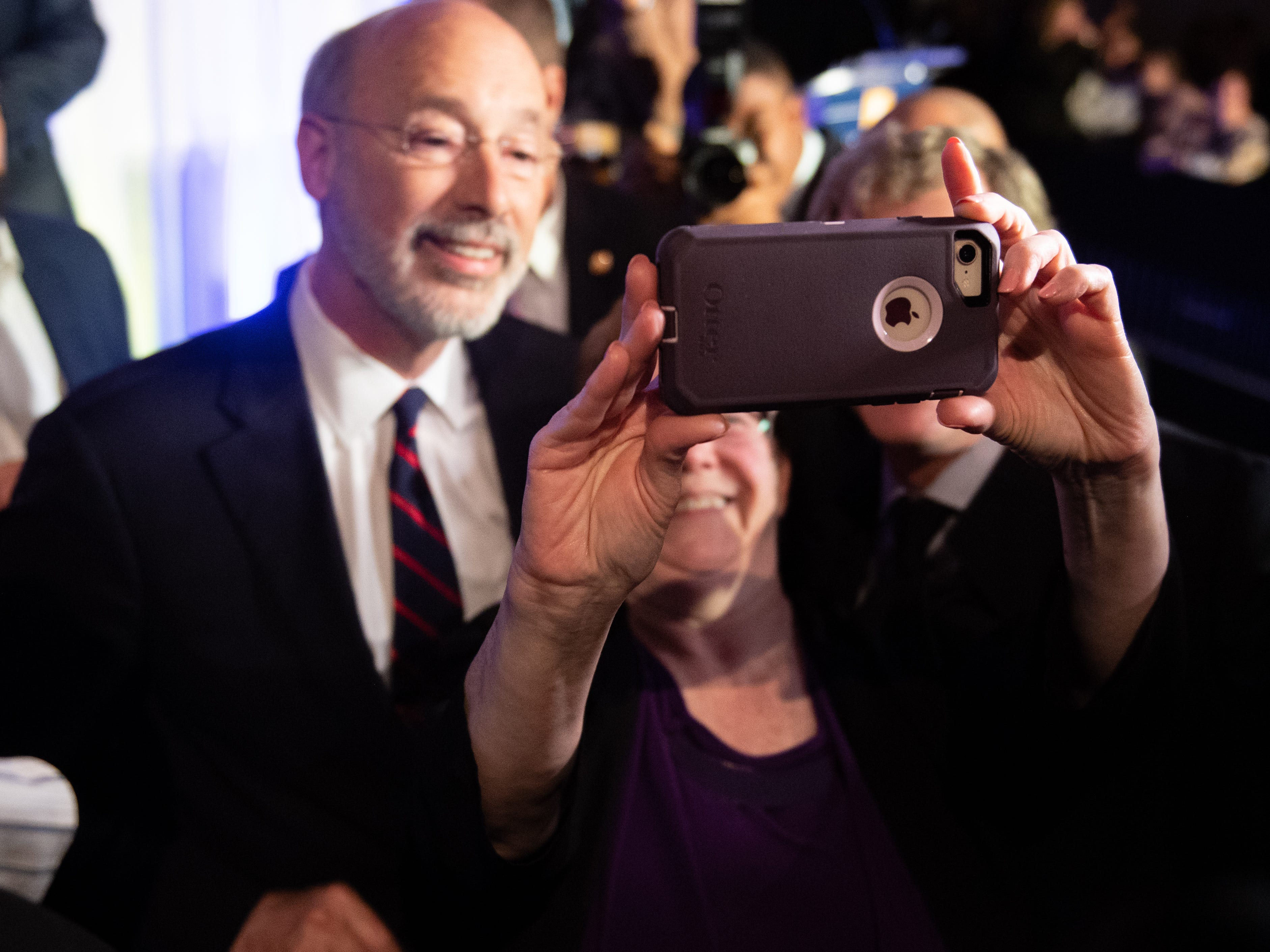 Governor Tom Wolf poses for a selfie during the Governor Election Night Party at The Bond, Tuesday, November 6, 2018. Tom Wolf was re-elected as Governor of Pennsylvania after defeating Scott Wagner.