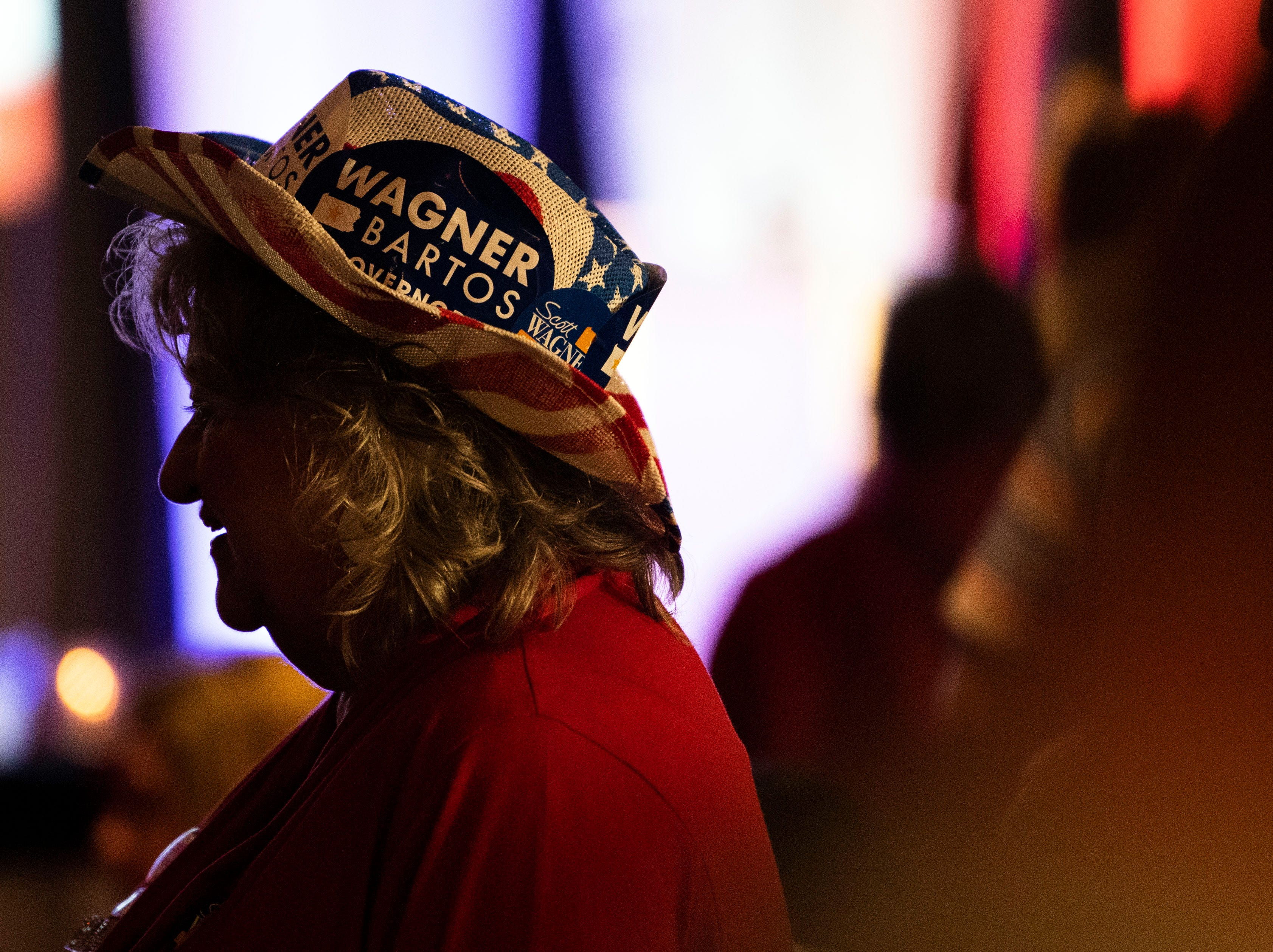 Sandy Riebling, of East Berlin, speaks with media during Republican Scott Wagner's election watch party at the Wyndham Garden York hotel on Tuesday, Nov. 6, 2018. Wagner lost to Democratic incumbent Tom Wolf. During his concession speech, Wagner said he's not going anywhere.
