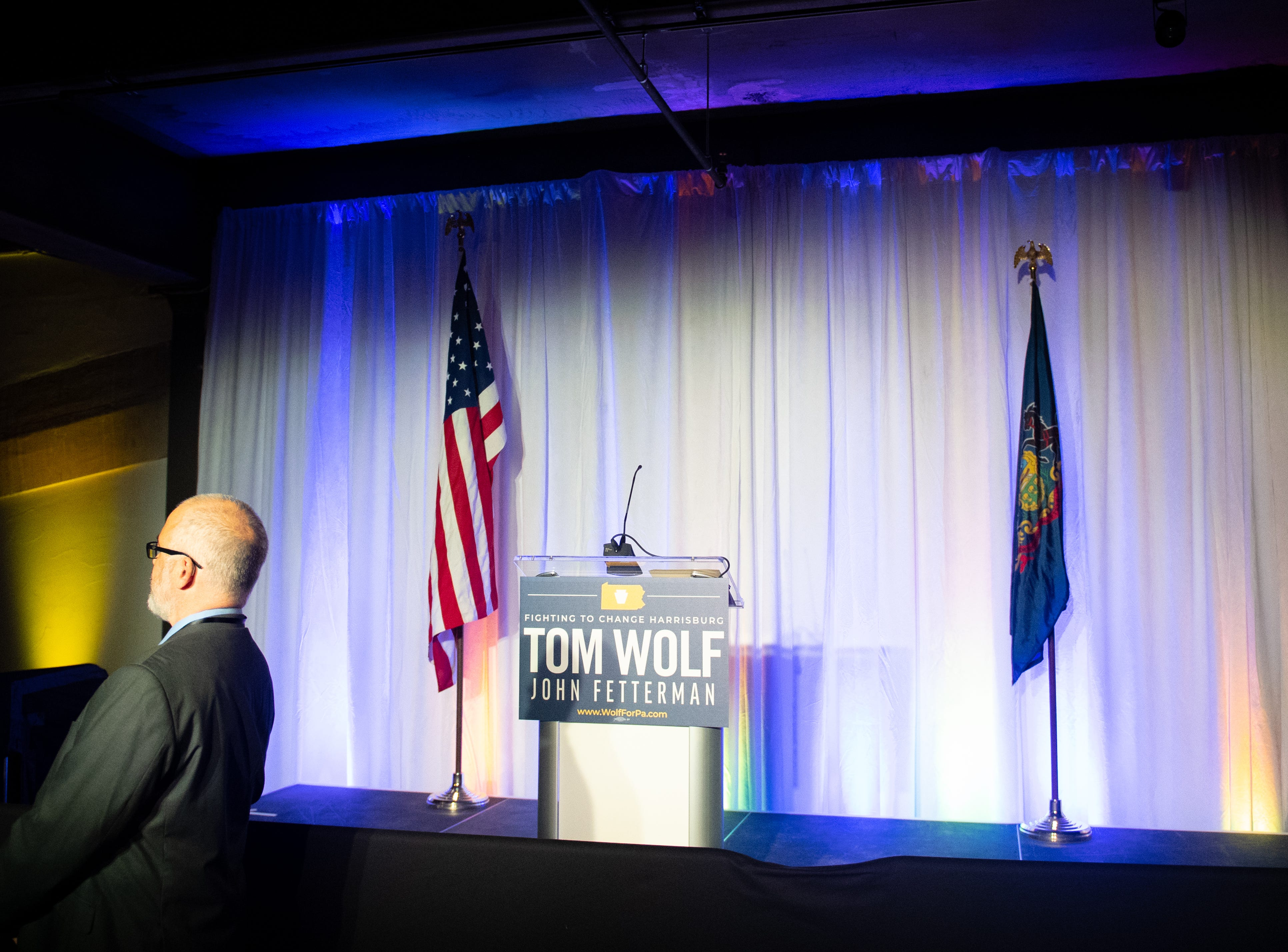 This is where Governor Tom Wolf will make his speech during the Governor Wolf and Mayor Fetterman Election Night Party at The Bond, Tuesday, November 6, 2018. Tom Wolf was re-elected as Governor of Pennsylvania after defeating Scott Wagner.