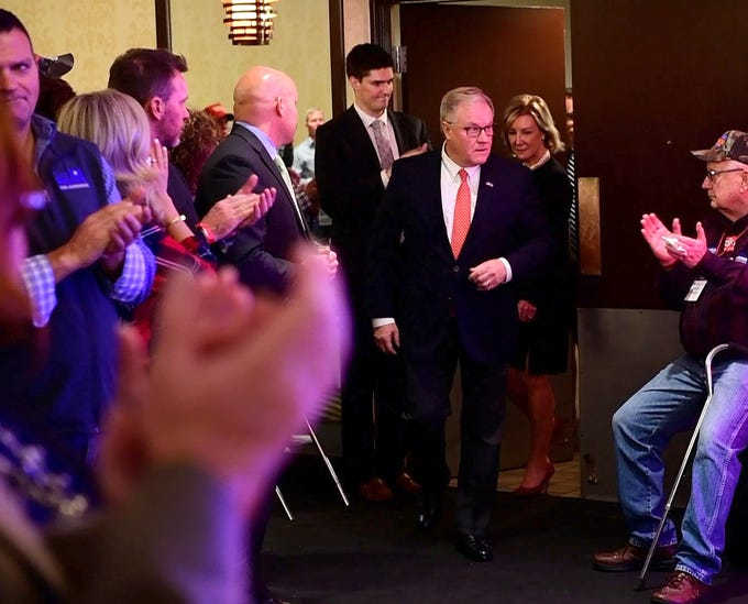 Scott Wagner enters the Wyndham Garden York hotel to give his concession speech on Tuesday, Nov. 6, 2018. Wagner lost to Democratic incumbent Tom Wolf. During his concession speech, Wagner said he's not going anywhere.