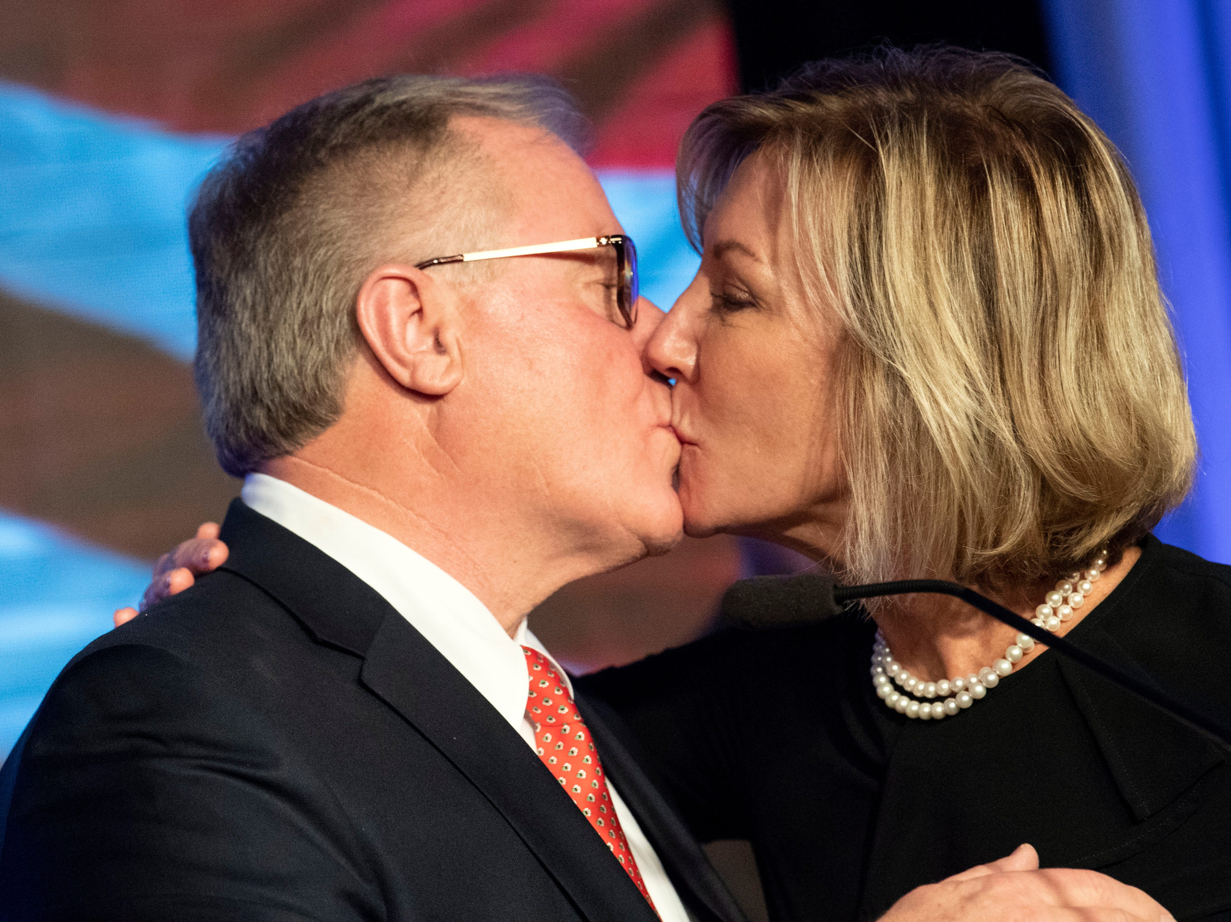 Scott Wagner kisses his wife, Tracy, after giving his concession speech at the Wyndham Garden York hotel on Tuesday, Nov. 6, 2018. Wagner lost to Democratic incumbent Tom Wolf. During his concession speech, Wagner said he's not going anywhere.