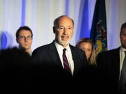 Gov. Tom Wolf delivers his victory speech at an election night party on Tuesday. Wolf was re-elected as governor after defeating Scott Wagner.