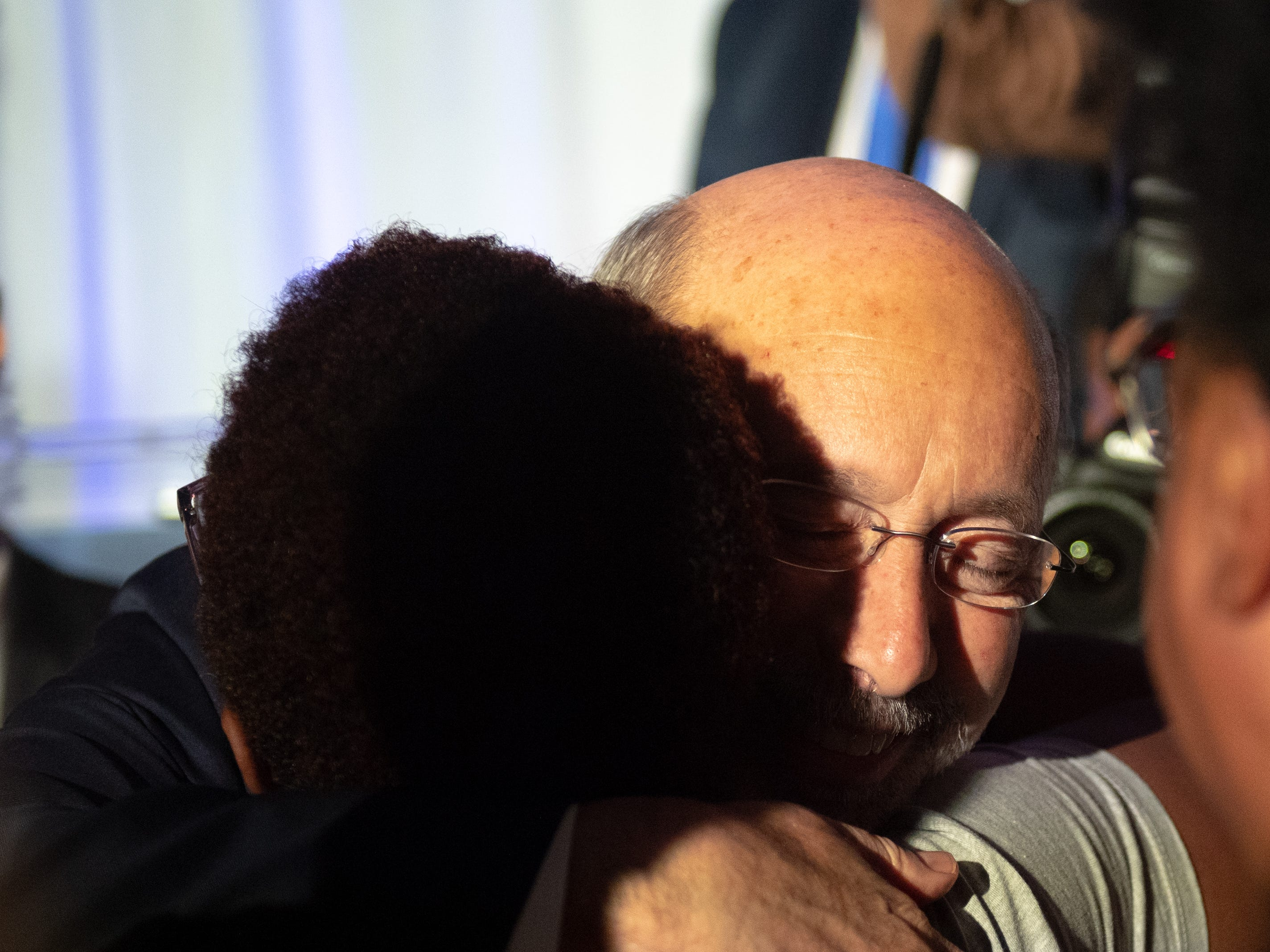 Governor Wolf gives hugs to everyone insight at the Election Night Party at The Bond, Tuesday, November 6, 2018. Tom Wolf was re-elected as Governor of Pennsylvania after defeating Scott Wagner.