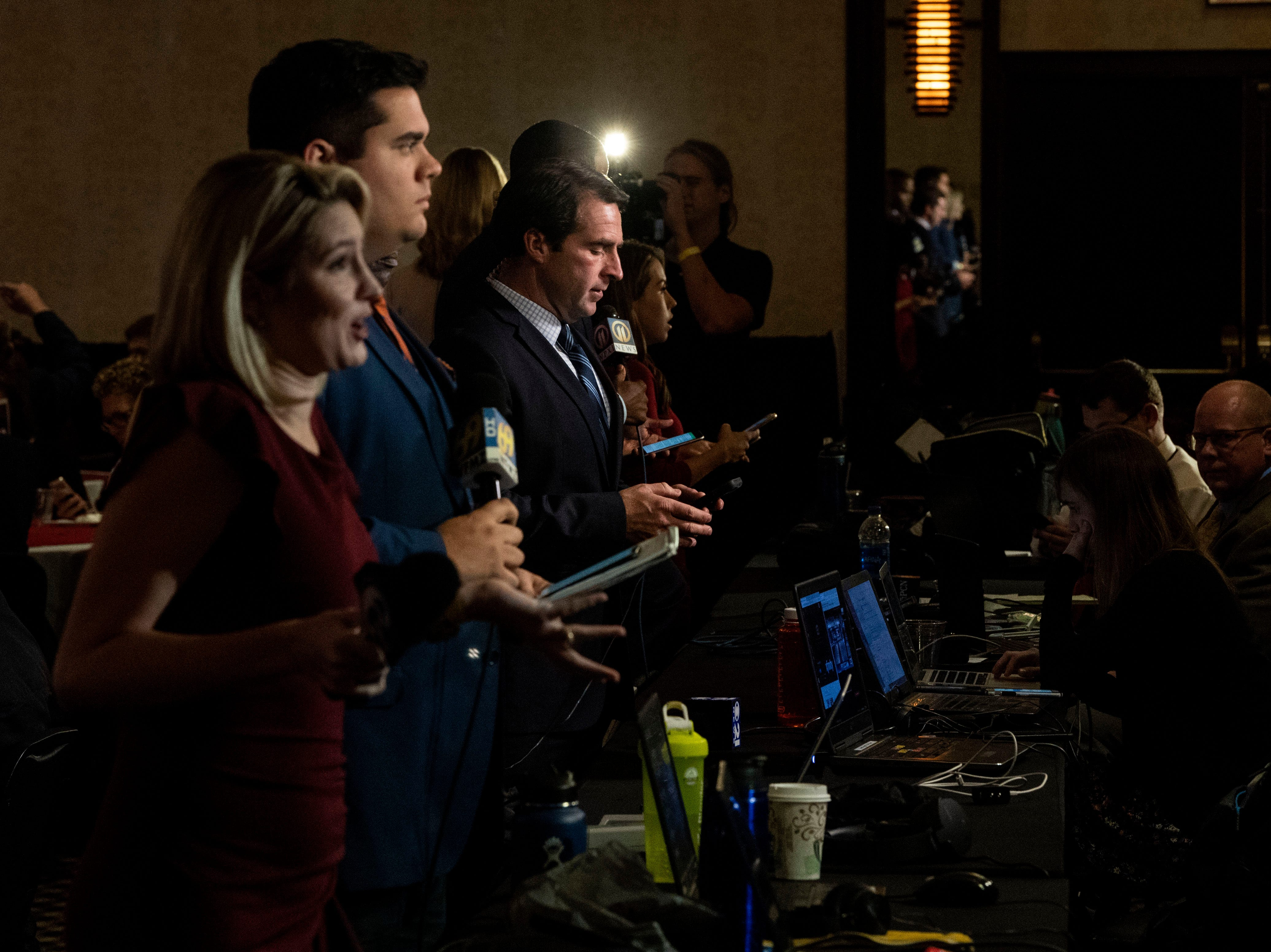 TV news gets ready to go live at Republican Scott Wagner's election watch party at the Wyndham Garden York hotel on Tuesday, Nov. 6, 2018. Wagner lost to Democratic incumbent Tom Wolf. During his concession speech, Wagner said he's not going anywhere.