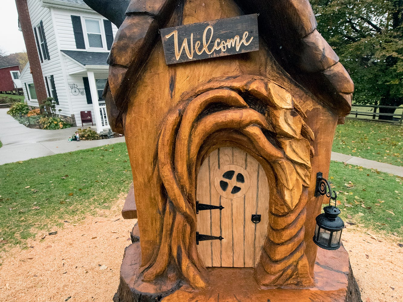 This is a fairy house carved with a chainsaw by Paul Walco. You can see it at the Teaching Museum for the Fiber Arts & Textiles near Winterstown on the York/Adams Best Kept Secrets Tour until Nov. 17.