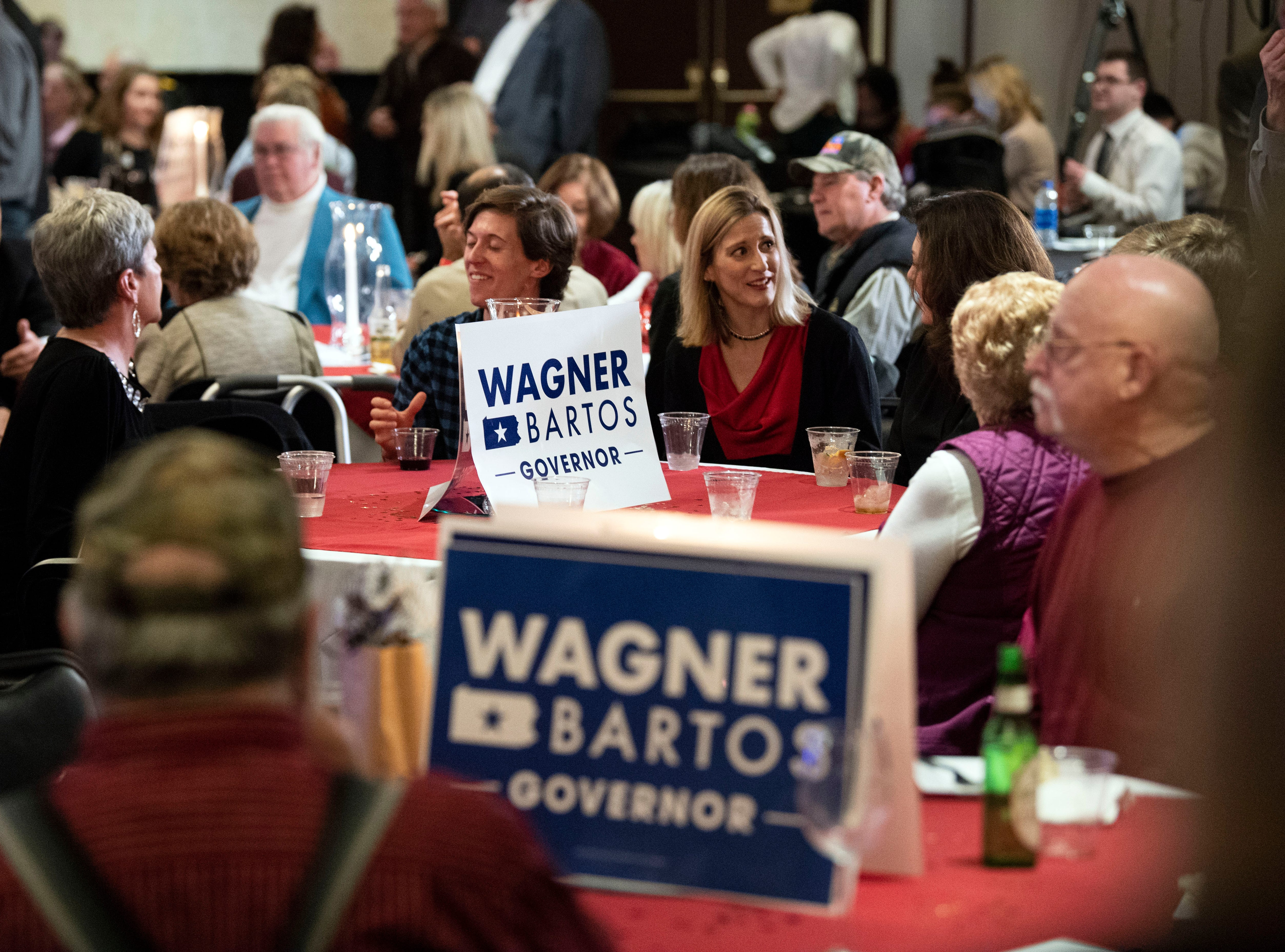 Crowds of supporters sit and watch midterm election results file in at Republican Scott Wagner's election watch party at the Wyndham Garden York hotel on Tuesday, Nov. 6, 2018. Wagner lost to Democratic incumbent Tom Wolf. During his concession speech, Wagner said he's not going anywhere.
