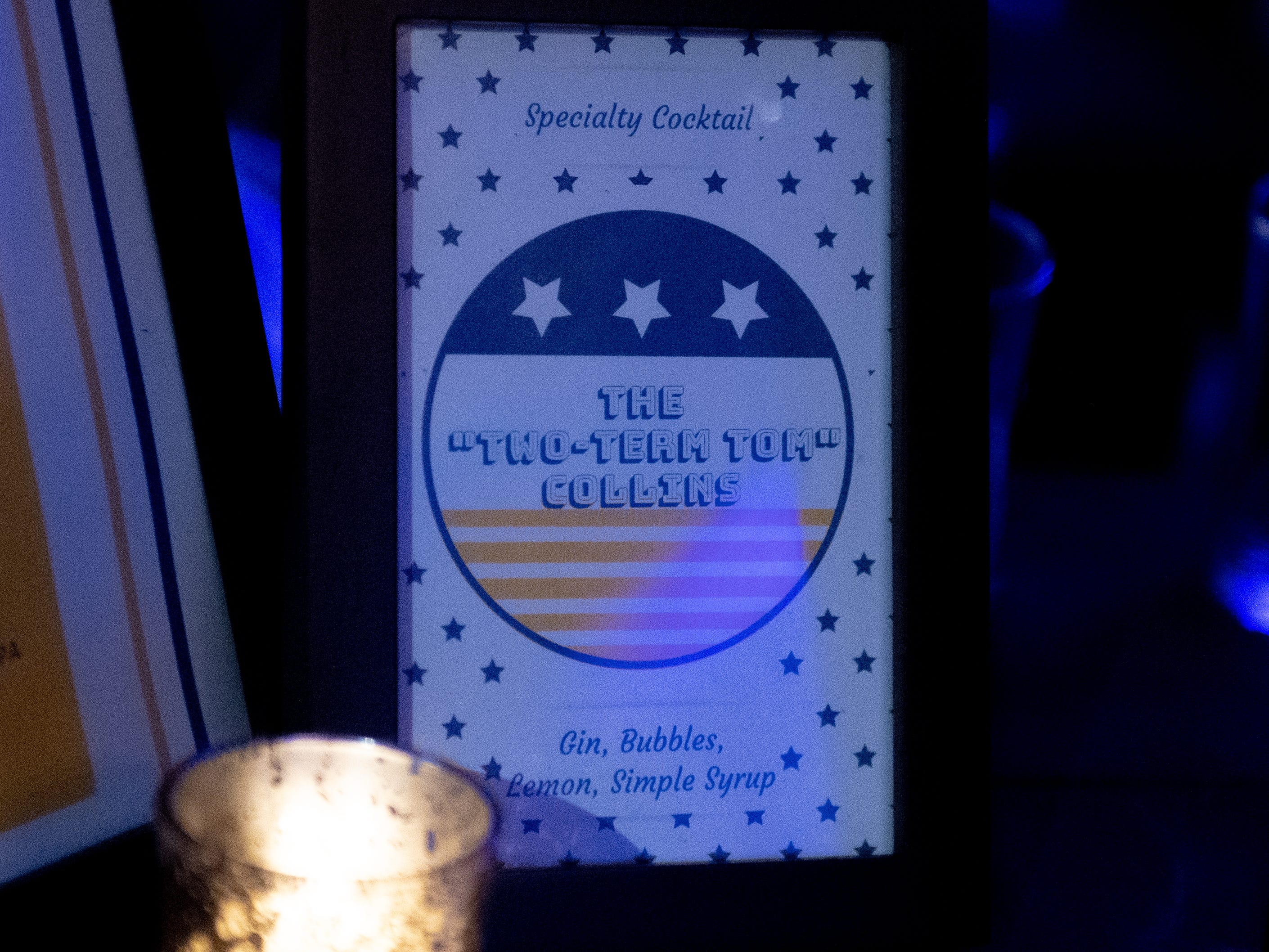 Governor race themed cocktails are available during the Governor Wolf and Mayor Fetterman Election Night Party at The Bond, Tuesday, November 6, 2018. Tom Wolf was re-elected as Governor of Pennsylvania after defeating Scott Wagner.