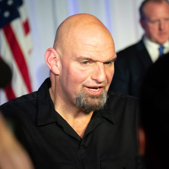 John Fetterman talks to his supporters during the election night party at The Bond, Tuesday. Fetterman, elected lieutenant governor, grew up in York.