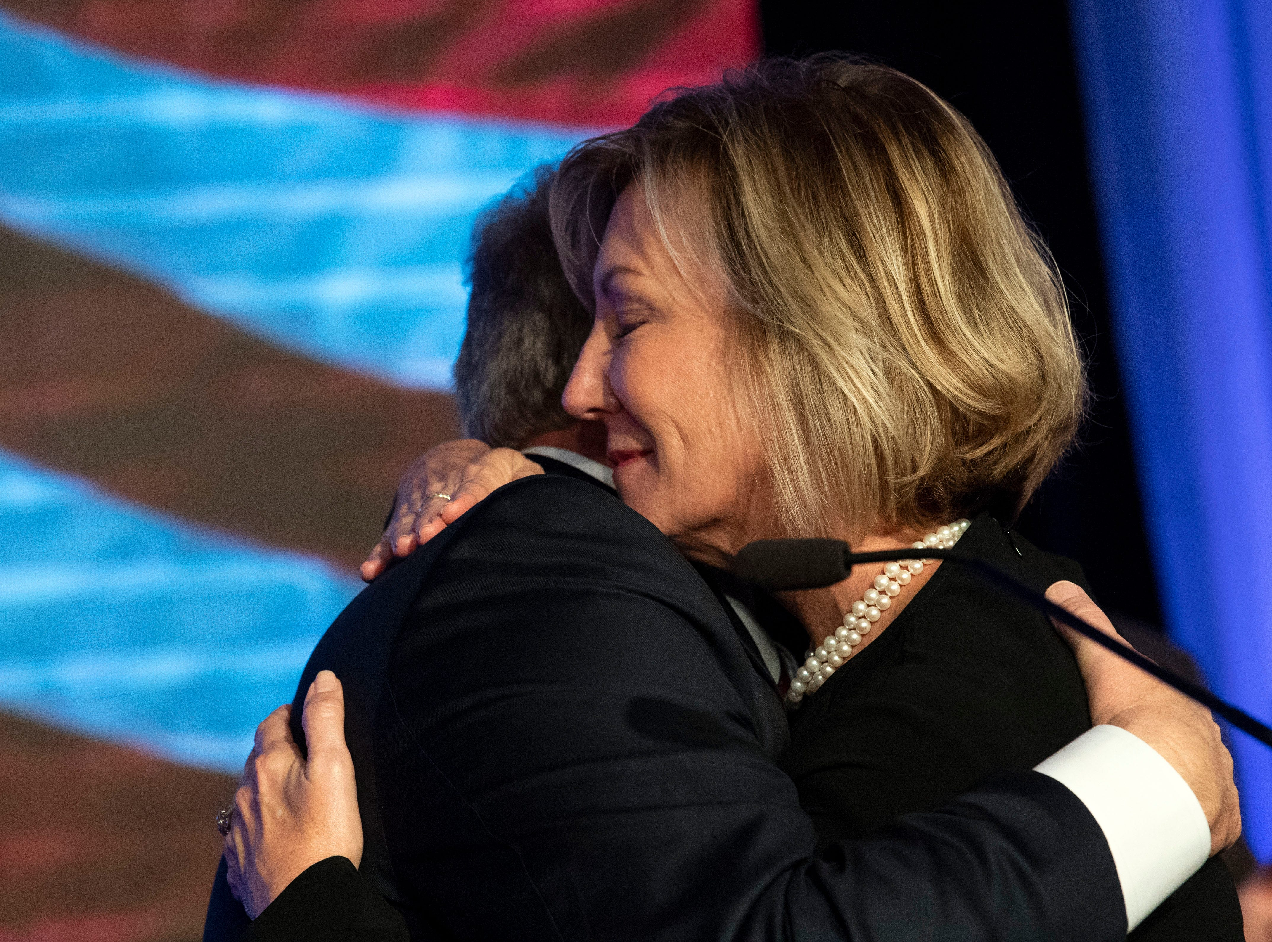 Scott Wagner and his wife, Tracy, hug following his concession speech at the Wyndham Garden York hotel on Tuesday, Nov. 6, 2018. Wagner lost to Democratic incumbent Tom Wolf. During his concession speech, Wagner said he's not going anywhere.