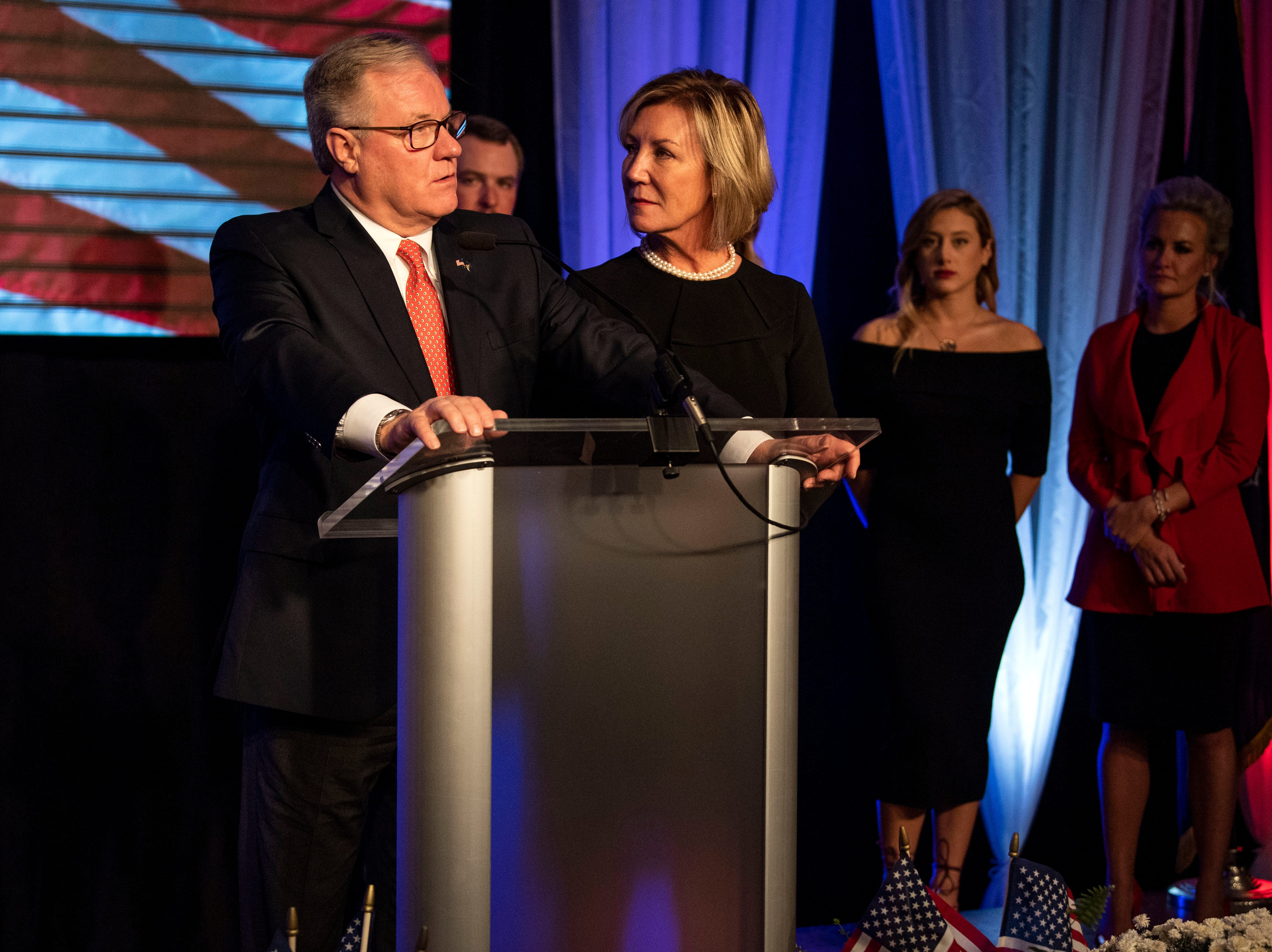 Republican Scott Wagner, with his wife Tracy beside him, gives his concession speech at the Wyndham Garden York hotel on Tuesday, Nov. 6, 2018. Wagner lost to Democratic incumbent Tom Wolf. During his concession speech, Wagner said he's not going anywhere.