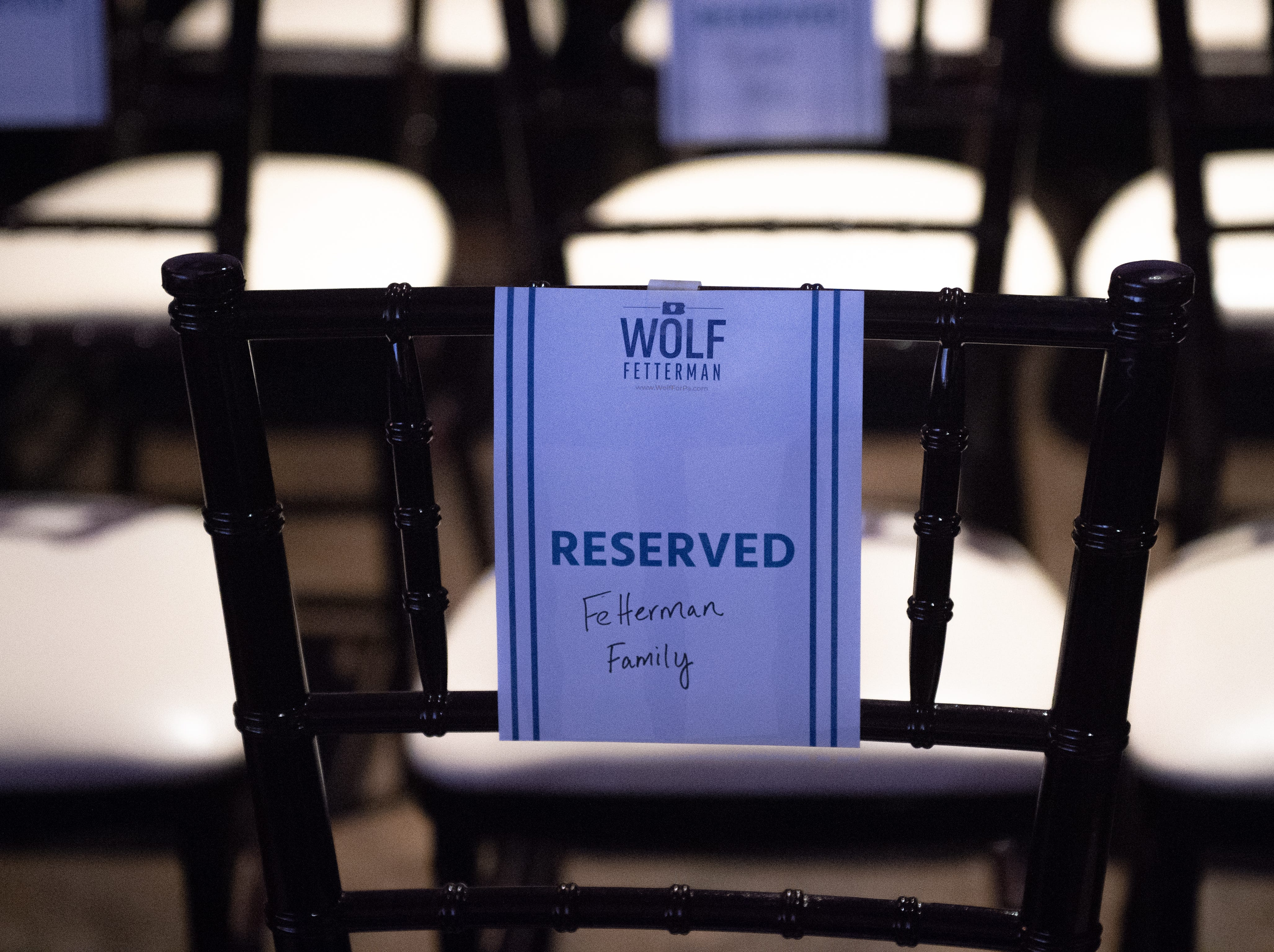 A section of the room is roped off for the families of the candidates during the Governor Wolf and Mayor Fetterman Election Night Party at The Bond, Tuesday, November 6, 2018. Tom Wolf was re-elected as Governor of Pennsylvania after defeating Scott Wagner.