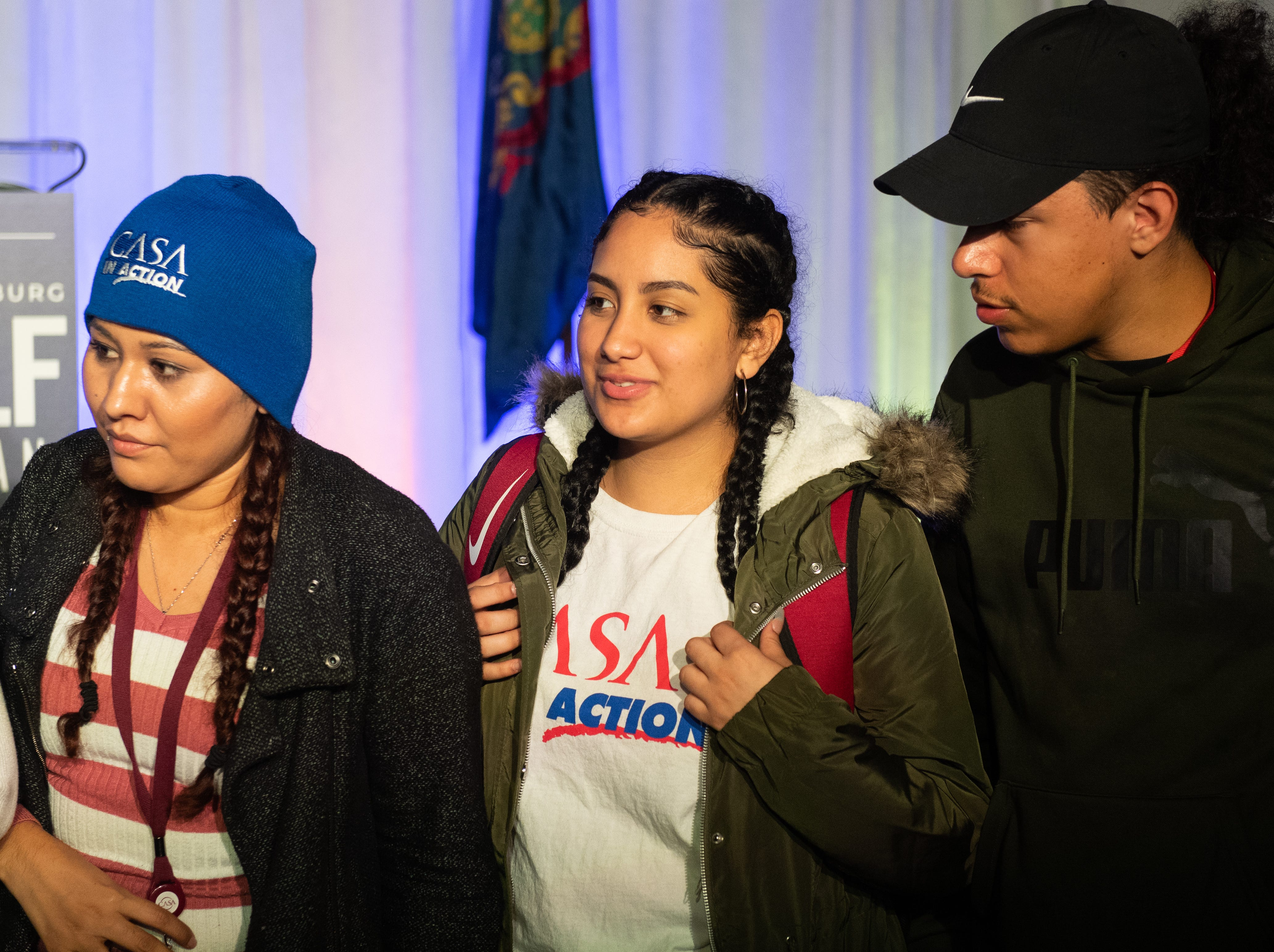 Nayely Lopez, Samantha Portillo, and Nathaniel Rivera take in the atmosphere during the Governor Wolf and Mayor Fetterman Election Night Party at The Bond, Tuesday, November 6, 2018. Tom Wolf was re-elected as Governor of Pennsylvania after defeating Scott Wagner.