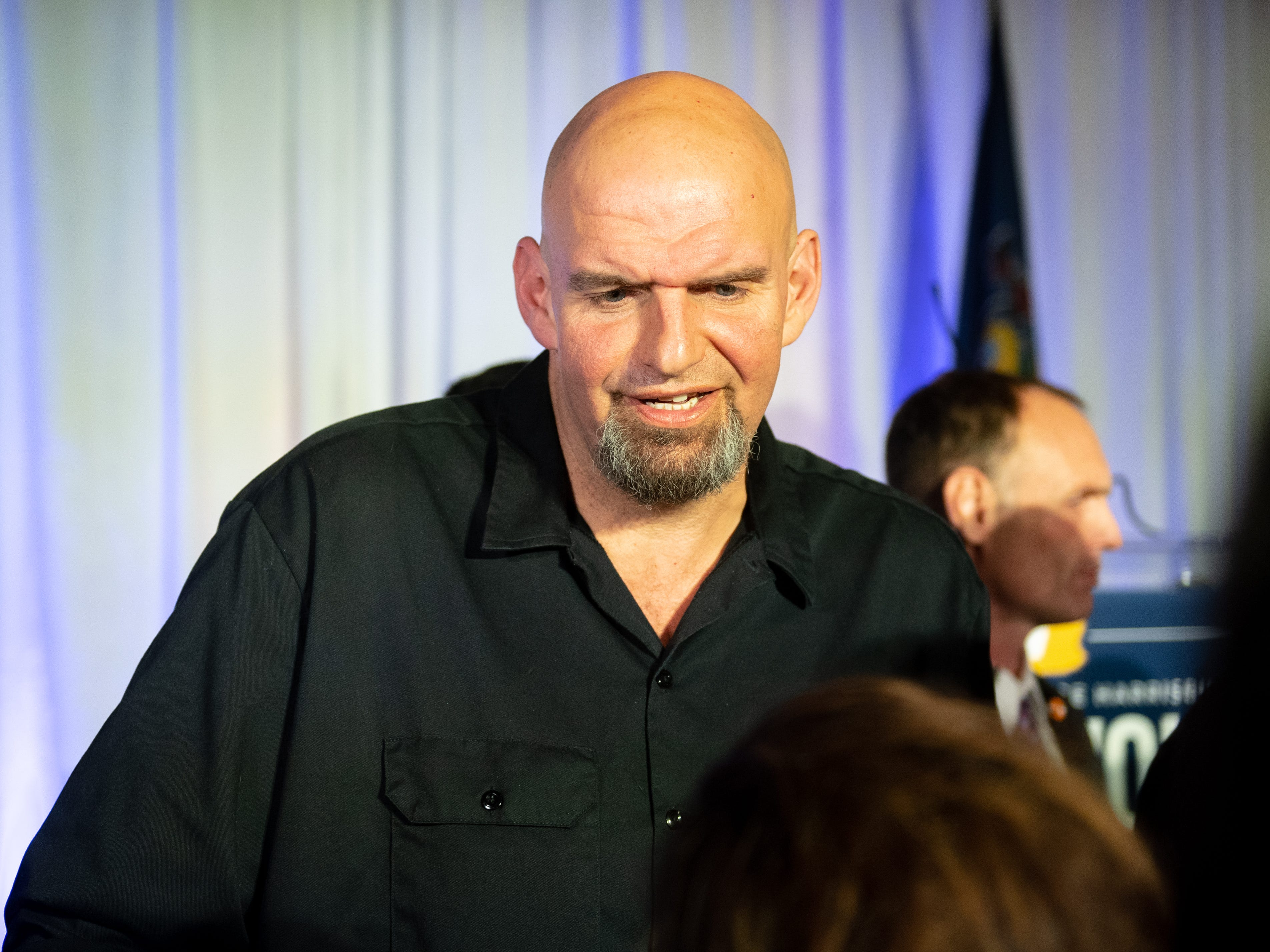 Lieutenant Governor-Elect John Fetterman talks with supporters during the Election Night Party at The Bond, Tuesday, November 6, 2018. Tom Wolf was re-elected as Governor of Pennsylvania after defeating Scott Wagner.