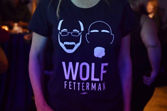 A Wolf-Fetterman T-shirt seen Tuesday night at the post-election party for Gov. Tom Wolf and John Fetterman.