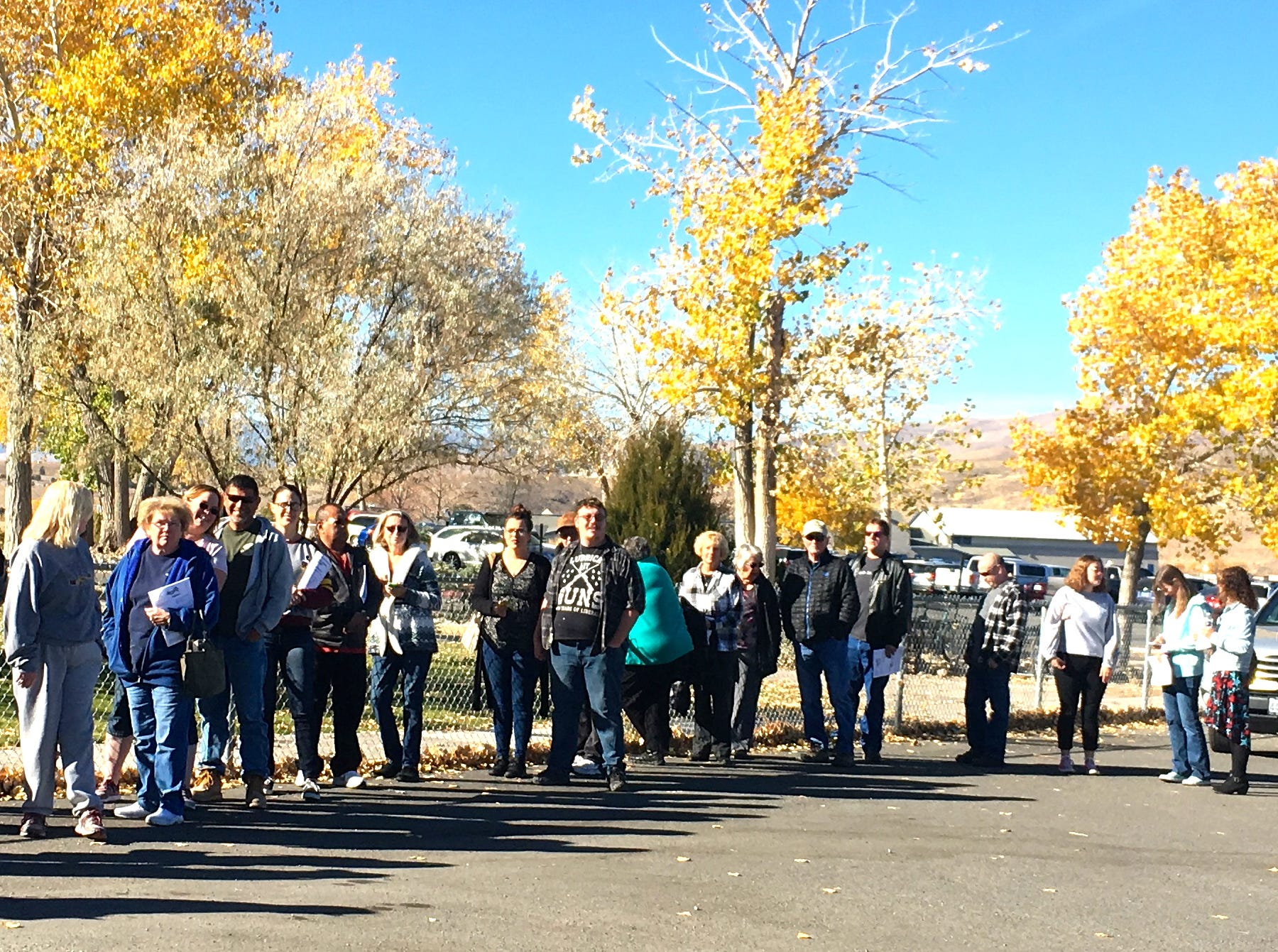 Voters wait in line in Dayton.