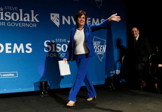 Rep. Jacky Rosen, D-Nev., takes the stage at a Democratic election night party Wednesday, Nov. 7, 2018, in Las Vegas, after defeating Sen. Dean Heller, R-Nev.,. (AP Photo/John Locher)