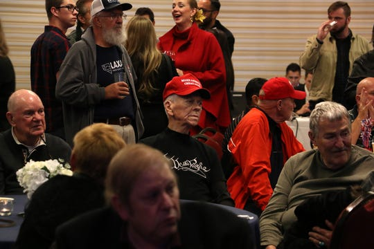 Supporters of candidate for governor Adam Laxalt gather in the Crystal Ballroom in the Grand Sierra Resort in Reno on Nov. 6, 2018.