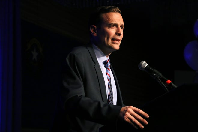 Nevada Attorney General Adam Laxalt concedes the race for Governor in front of supporters in the Crystal Ballroom in the Grand Sierra Resort in Reno on Nov. 6, 2018.