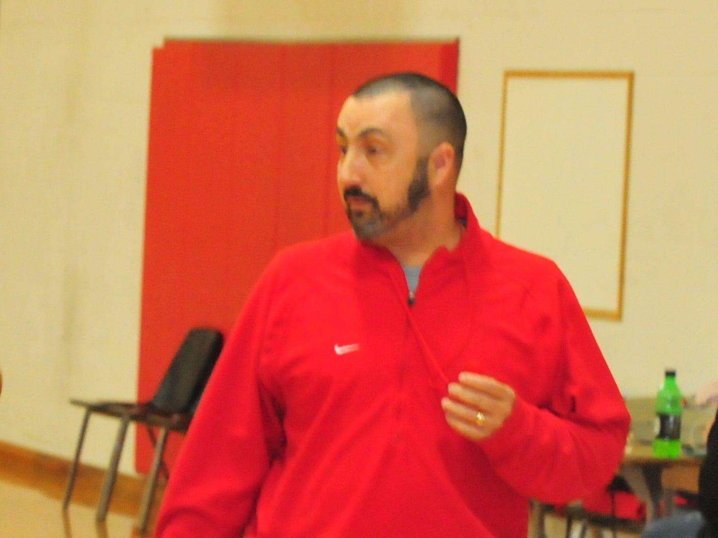 Head coach Shane Hillard during Richmond High School girls basketball practice Monday, Nov. 5, 2018.