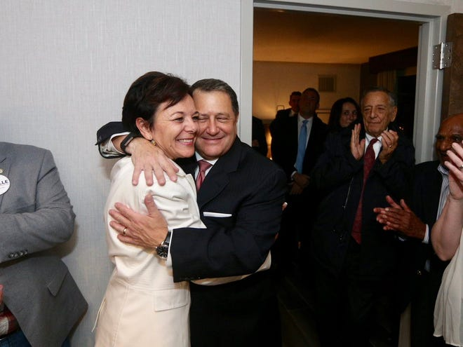 Joe Morelle and his wife Mary Beth celebrate after learning he won the race in the 25th Congressional District.