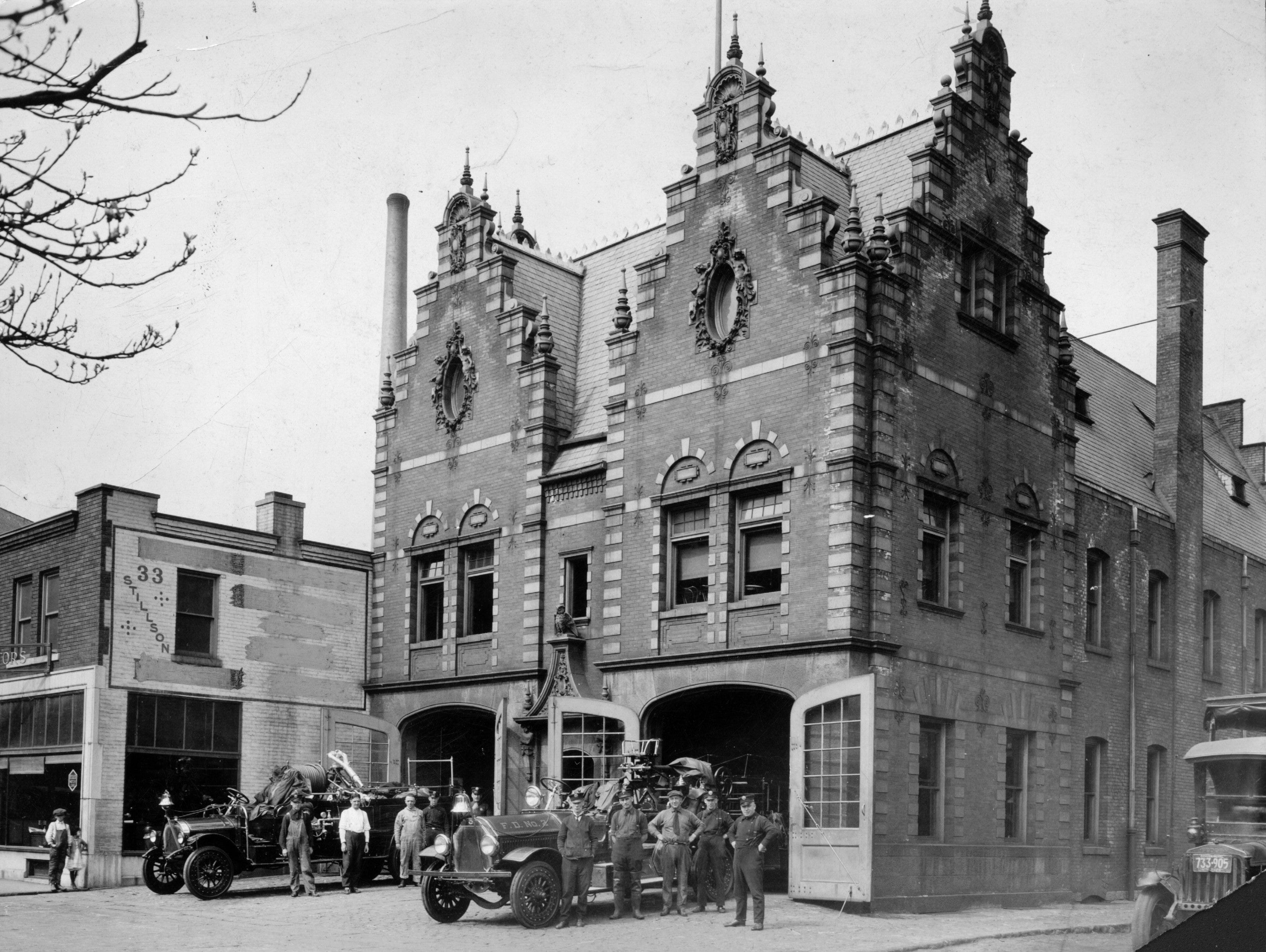 This photo from 1926  shows the fire station on Stillson Street. The firemen are posing with their new motorized equipment.