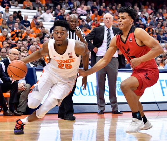 Syracuse guard Tyus Battle (25) drives the ball past Eastern Washington's Elijah Jackson (22) as his head coach Jim Boeheim looks on during the second half at the Carrier Dome on Tuesday.