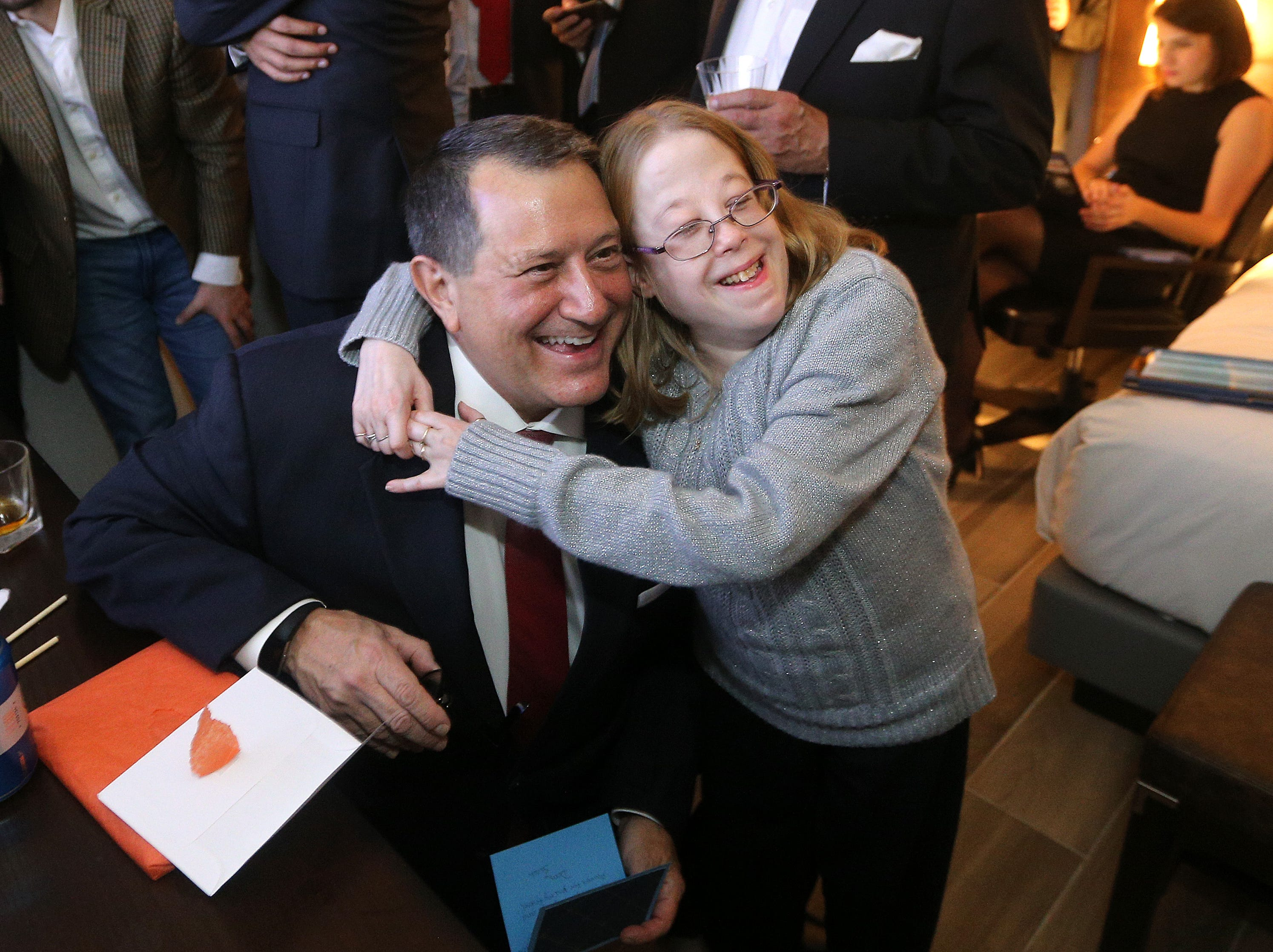 Joe Morelle poses with his friend Sarah Behan as he waits for poll results.  Morelle went on to win the congressional seat in the 25 district  of New York.