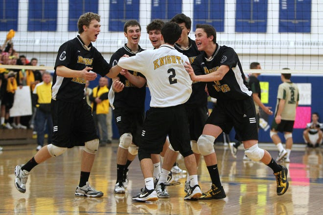 McQuaid celebrates a point during the 2010 Section V Class A championship match. McQuaid won state titles in 2010, '11 and '12.