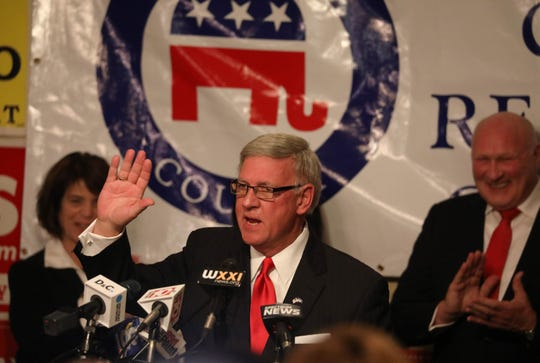 State Senator Rich Funke claims victory in his re-election bid in the 55th Senate District, at the Monroe County Republican Committee election night headquarters at the Rochester Riverside Hotel in downtown Rochester Tuesday, Nov. 6, 2018.