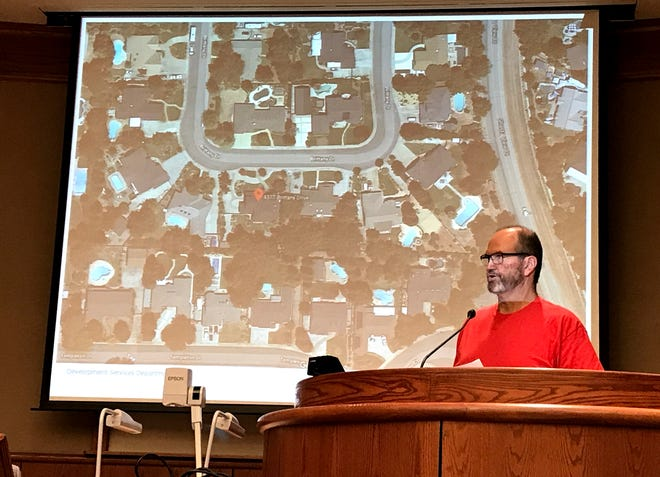 Sean Coleman, a resident on Brittany Drive, asks the Redding City Council to ban an unruly vacation rental two doors down from his home. The council agreed to revoke short-term rental status to applicant Gail Thacker.