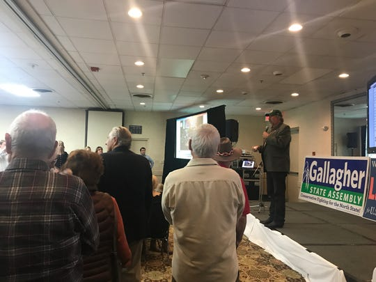 Rep. Doug LaMalfa addresses the crowd at his election party at Chico's Ramada hotel Tuesday night after beating challenger Audrey Denney.