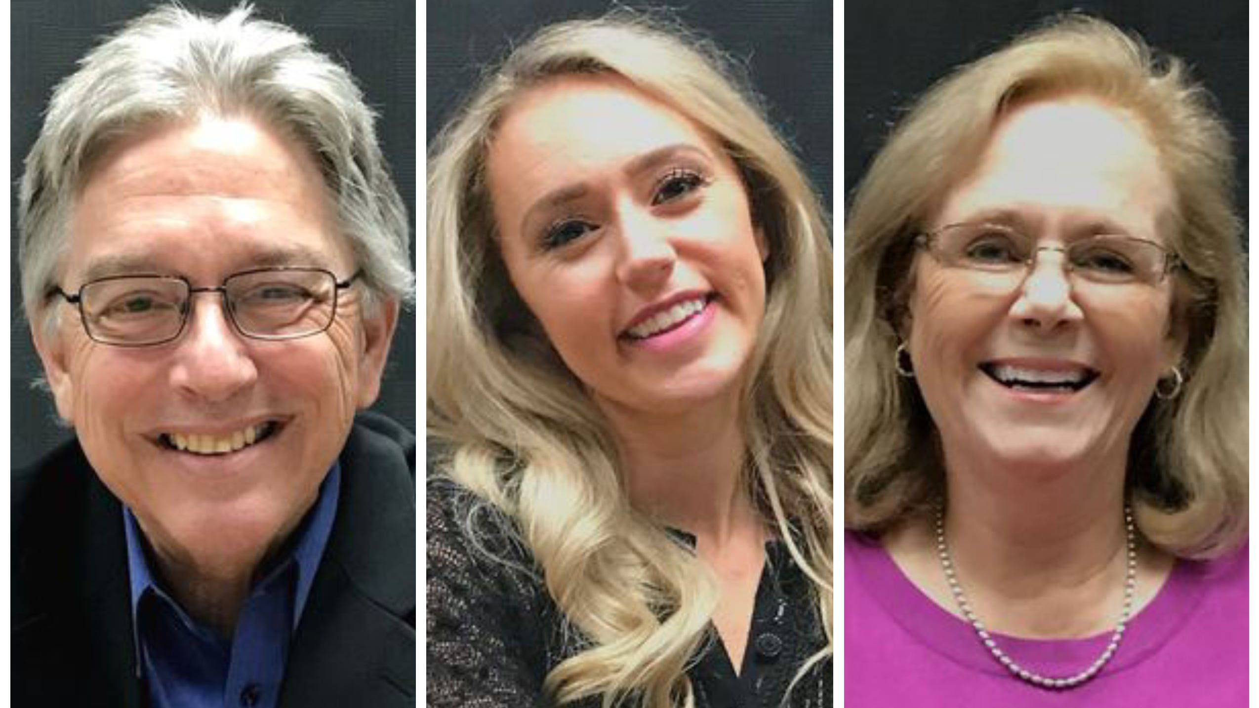 Left to right: Michael Dacquisto, Erin Resner and Kristen Schreder on tuesday, Nov. 6, 2018 won seats on the Redding City Council.