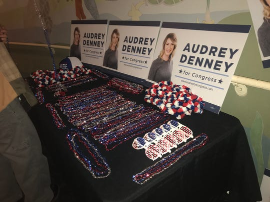 Fan gear for District 1 congressional candidate Audrey Denney, D--Chico, sits in the lobby of Chico's El Rey Theater Tuesday night during her party.