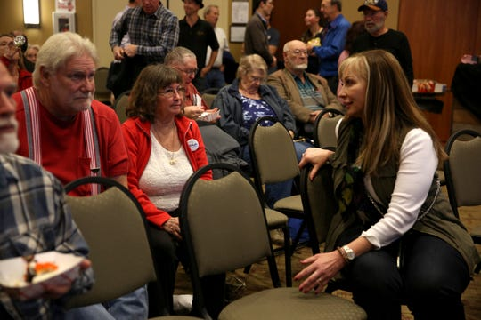 Incumbent Kim Thatcher (R), for Senate District 13, speaks to supporters during an election watch party hosted by the Marion County Republicans on Tuesday, Nov. 6, 2018, in Keizer.