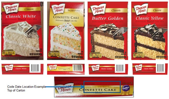 Certain Duncan Hines Classic White, Classic Butter Golden, Signature Confetti and Classic Yellow cake mixes have been recalled after testing positive for Salmonella.