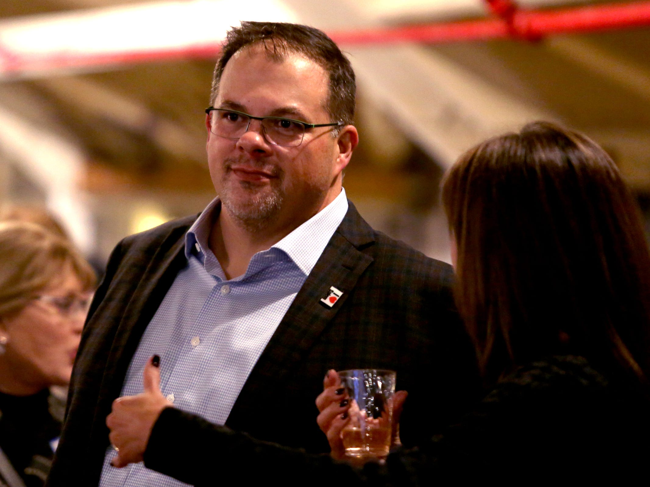 Chris Hoy, the Salem City Councillor for Ward 6, attends an election night party hosted by Marion County Democrats and Polk County Democrats at the Willamette Heritage Center in Salem on Tuesday, Nov. 6, 2018.