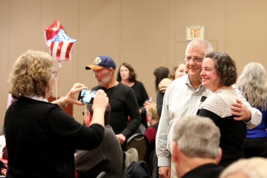 Incumbent Mike Nearman (R), for House District 23, is pictured with his wife during an election watch party hosted by the Marion County Republicans on Tuesday, Nov. 6, 2018, in Keizer.