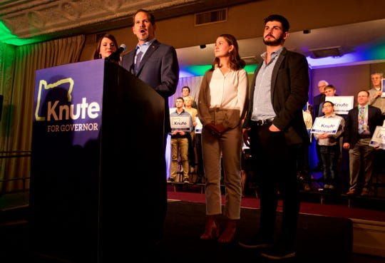 Republican gubernatorial candidate Knute Buehler gives a concession speech to supporters in Portland, Ore., Tuesday, Nov. 6, 2018.